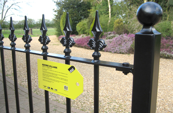 Sign affixed to railings