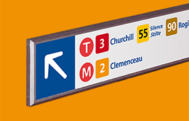 Station signs, directional signage, route maps, information panels, coding for different modes of transport all have to come together to form a cohesive, seamless, clutter-free system that is easy for people to follow.